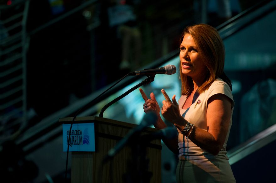 """Former presidential candidate Rep. Michele Bachmann speaks at a """"treasure life"""" event as part of the Republican National Coalition for Life and Republican National Convention, Tampa, Fla., Tuesday, August 28, 2012.   (Andrew Harnik/The Washington Times)"""