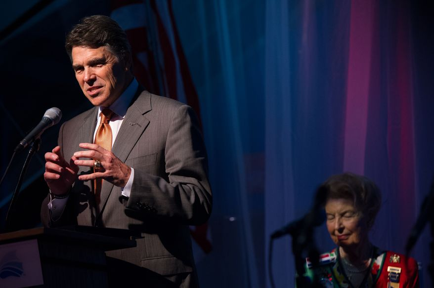 "Former presidential candidate Gov. Rick Perry speaks at a ""treasure life"" event as part of the Republican National Coalition for Life and Republican National Convention, Tampa, Fla., Tuesday, August 28, 2012.   (Andrew Harnik/The Washington Times)"