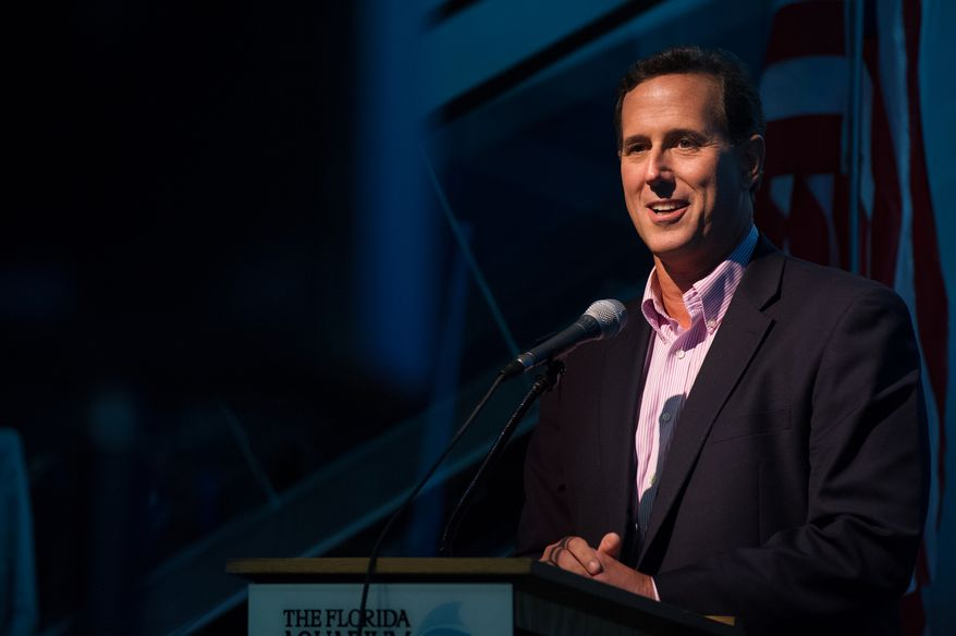 """Former Sen. Rick Santorum speaks at a """"treasure life"""" event sponsored by the Republican National Coalition for Life at the Republican National Convention in Tampa, Fla., on Tuesday, Aug. 28, 2012. (Andrew Harnik/The Washington Times)"""