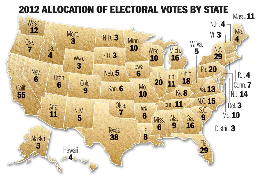 Illustration 2012 Electoral College by Greg Groesch for The Washington Times