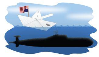 Illustration U.S. Sinking Navy by Alexander Hunter for The Washington Times