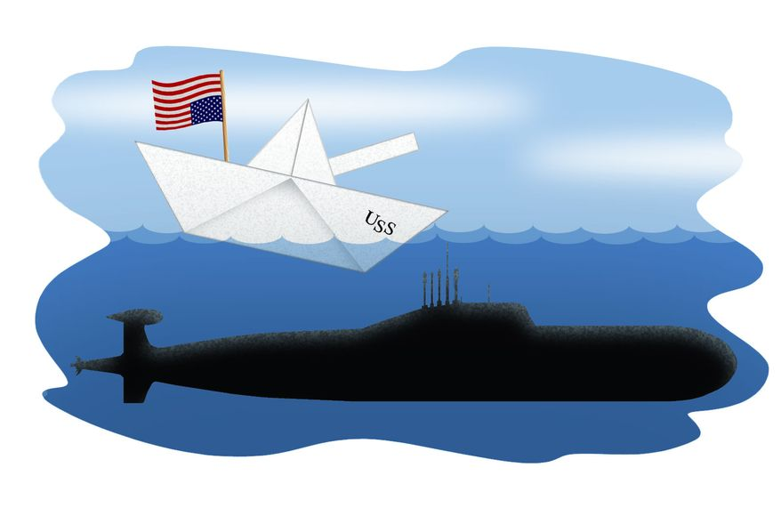 Illustration U.S. Sinking Navy by Alexander Hunter for The Washington Times