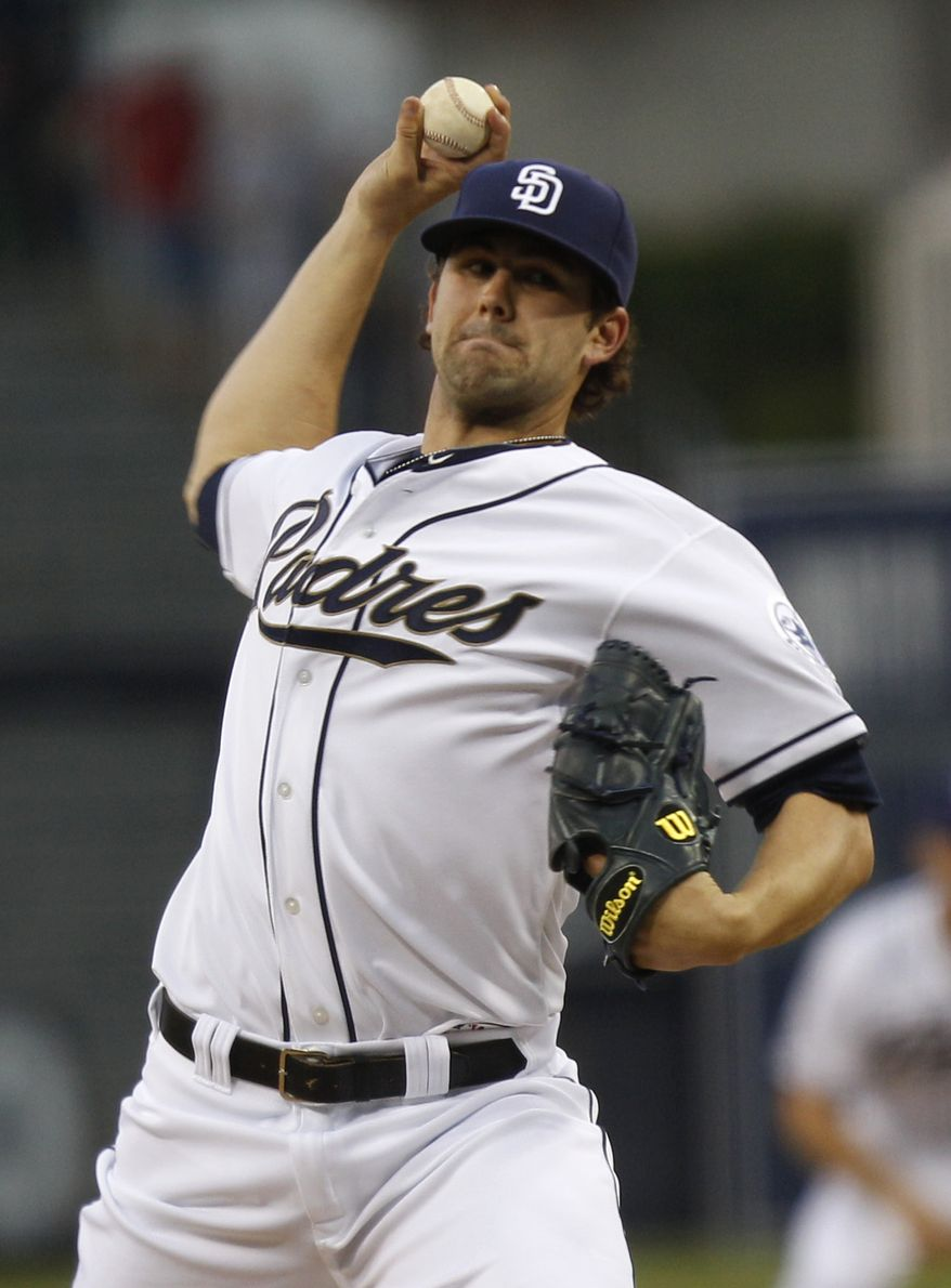 San Diego Padres pitcher Casey Kelly pitches against the Atlanta Braves during the first inning of a baseball game Monday, Aug. 27, 2012 in San Diego. (AP Photo/Lenny Ignelzi)