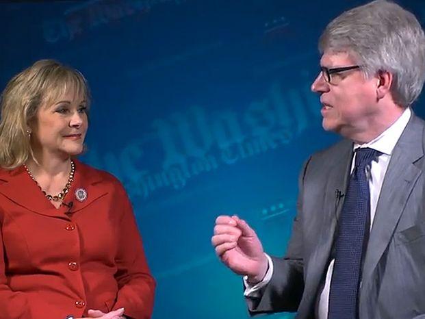 Screenshot: Editor of the Washington Times, Ed Kelley, interviews Gov. Mary Fallin of Oklahoma at the Republican National Convention.