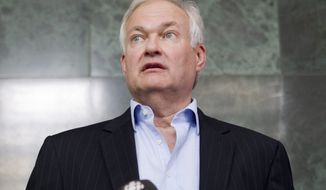 Donald Fehr, executive director of the NHL Players' Association, speaks to reporters following collective bargaining talks between the NHLPA and the NHL in Toronto on Wednesday, Aug. 15, 2012. (AP Photo/The Canadian Press, Chris Young)