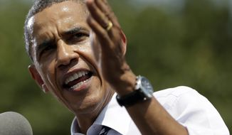 President Obama speaks Aug. 28, 2012, during a campaign event at Iowa State University in Ames, Iowa. (Associated Press)