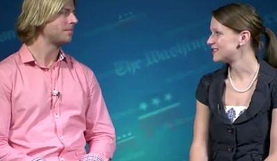 Screenshot of reporter Paige Winfield Cunningham interviews recording artist, Beau Davidson at the Republican National Convention.
