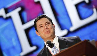 **FILE** Utah Rep. Jason Chaffetz stands on the stage Aug. 25, 2012, during preparation for the Republican National Convention festivities inside the Tampa Bay Times Forum in Tampa, Fla. (Associated Press)
