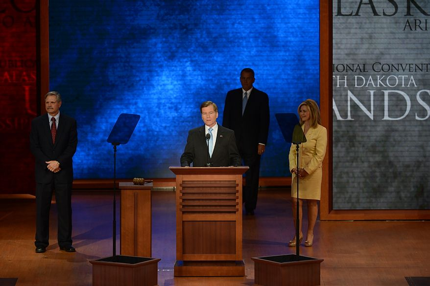 Chairman of the Committee on Resolutions, Gov. Bob McDonnell, R- Va., introduces Speaker of the House, Rep. John Boehner, R-Ohio at the Republican National Convention at the Tampa Bay Times Forum in Tampa, Fla. on Tuesday, August 28, 2012, as Co-Chairman Rep. Marsh Blackburn, R- Tenn., right, and Sen. John Hoeven, R- N.D., look on. (Rod Lamkey, Jr./ The Washington Times)