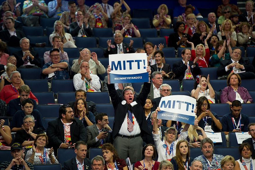 Alternative delegates cheer as states announce their votes for the republican nominee for the next president of the United States at the Republican National Convention, Tampa, Fla., Tuesday, August 28, 2012. (Andrew Harnik/The Washington Times)