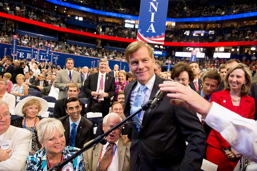 Virginia Gov. Bob McDonnell gets ready to announce the Virginia votes for Mitt Romney for the Republican nomination for the next president of the United States at the Republican National Convention, Tampa, Fla., Tuesday, August 28, 2012. (Andrew Harnik/The Washington Times)