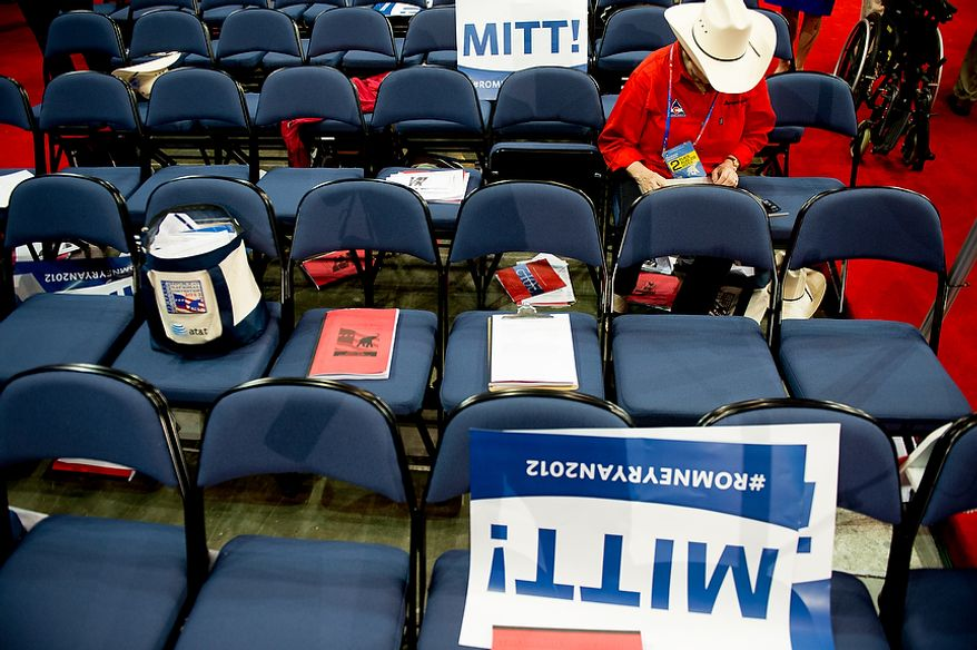 Colorado delegate Frieda Wallison works on her laptop during a recess after Mitt Romney receives enough delegate votes to put him over the top as the Republican nomination for the next president of the United States at the Republican National Convention, Tampa, Fla., Tuesday, August 28, 2012. (Andrew Harnik/The Washington Times)