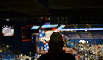 Susan Epps of Houston, Tex.takes in the Republican National Convention at the Tampa Bay Times Forum in Tampa, Fla. on Tuesday, August 28, 2012. (Rod Lamkey, Jr./ The Washington Times)
