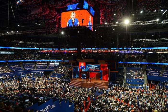 Oklahoma Governor Mary Fallin addresses the Republican National Convention at the Tampa Bay Times Forum in Tampa, Fla. on Tuesday, August 28, 2012. (Rod Lamkey, Jr./ The Washington Times)