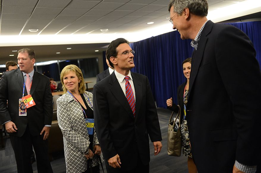 House Majority leader Eric Cantor, R-Va. and his wife Diana Cantor talk with attendees at the Republican National Convention at the Tampa Bay Times Forum in Tampa, Fla. on Tuesday, August 28, 2012. (Rod Lamkey, Jr./ The Washington Times)