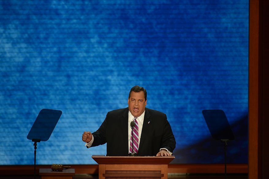 New Jersey Gov. Chris Christie delivers the keynote address at the Republican National Convention at the Tampa Bay Times Forum in Tampa, Fla., on Aug. 28, 2012. (Rod Lamkey, Jr./The Washington Times)