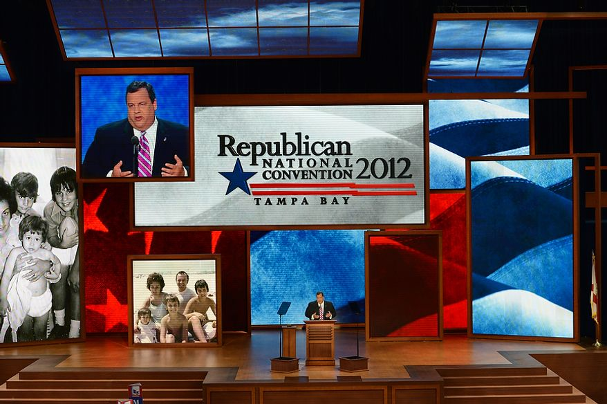 New Jersey Gov. Chris Christie delivers the keynote address Aug. 28, 2012, at the Republican National Convention at the Tampa Bay Times Forum in Tampa, Fla. (Rod Lamkey, Jr./The Washington Times)