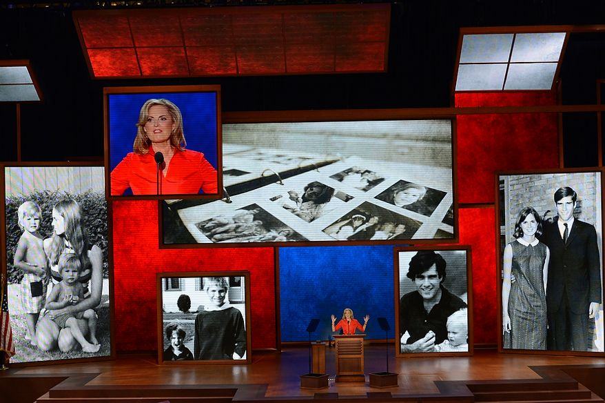 Ann Romney, wife on nominated Republican presidential candidate, Mitt Romney, addresses the Republican National Convention at the Tampa Bay Times Forum in Tampa, Fla. on Tuesday, August 28, 2012. (Rod Lamkey, Jr./ The Washington Times)