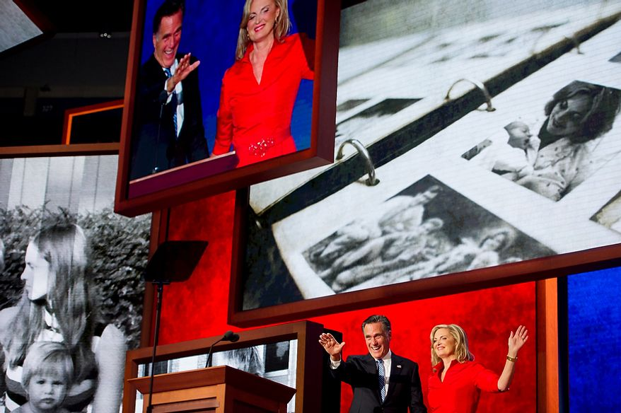 Republican presidential nominee Mitt Romney comes out on stage after his wife Ann Romney delivers a speech at the Republican National Convention, Tampa, Fla., Tuesday, August 28, 2012. (Andrew Harnik/The Washington Times)