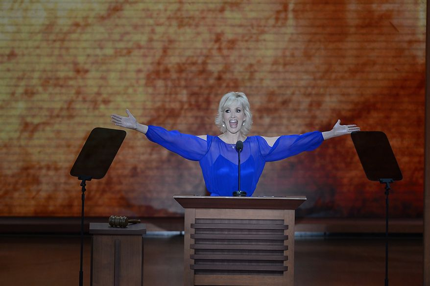 Actress  Janine Turner addresses delegates at the Republican National Convention at the Tampa Bay Times Forum in Tampa, Fla. on Tuesday, August 28, 2012. (Rod Lamkey, Jr./ The Washington Times)