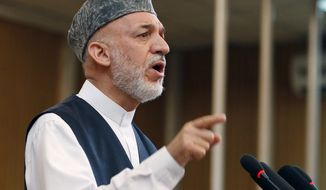 **FILE** Afghan President Hamid Karzai speaks July 17, 2012, in Kabul, Afghanistan. (Associated Press)