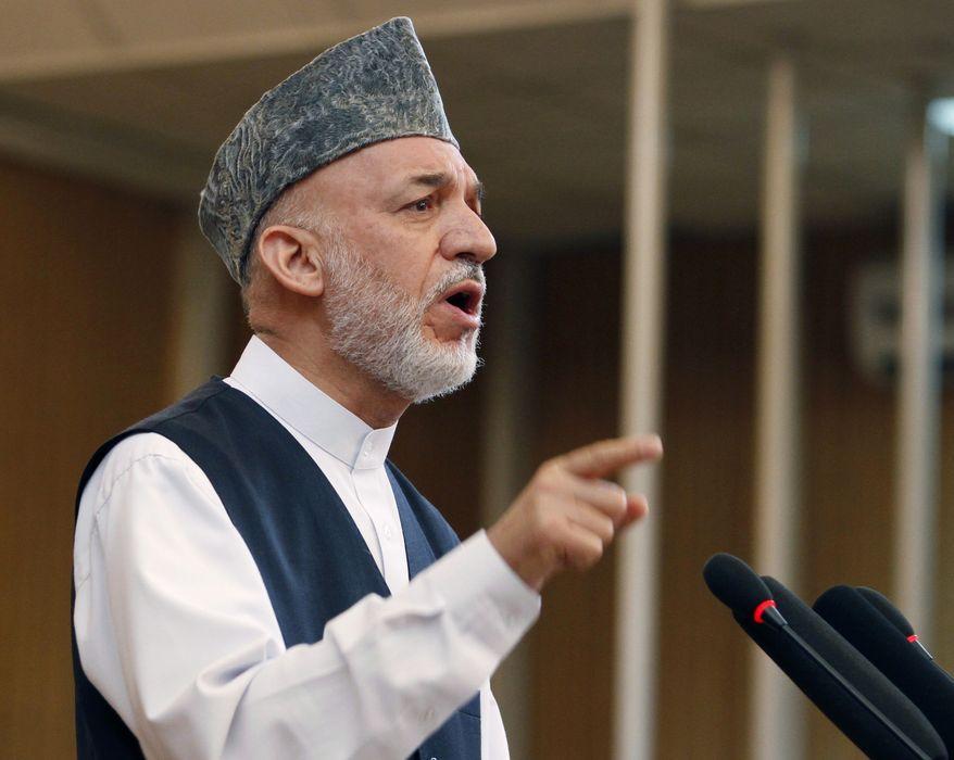 **FILE** Afghan President Hamid Karzai speaks July 17, 2012, in Kabul, Afghanistan. (Associated Press)