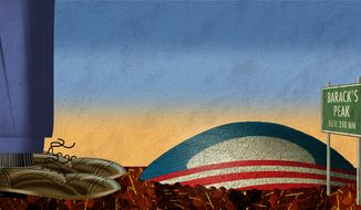 Illustration Obama's Peak by Alexander Hunter for The Washington Times