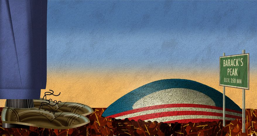 Illustration Obama's Peak by Alexander Hunter for The Washington Times