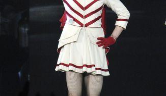 **FILE** Singer Madonna performs Aug. 28, 2012, at the Wells Fargo Center in Philadelphia. (Evan Agostini/Invision/Associated Press)