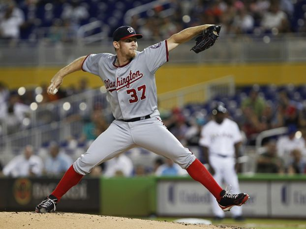 Stephen Strasburg pitches against the Miami Marlins Tuesday night. (Associated Press)
