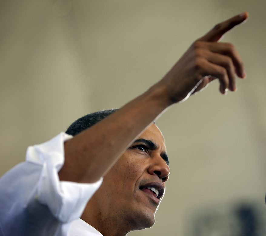 President Obama speaks Aug. 29, 2012, at a campaign event in Charlottesville, Va. (Associated Press)