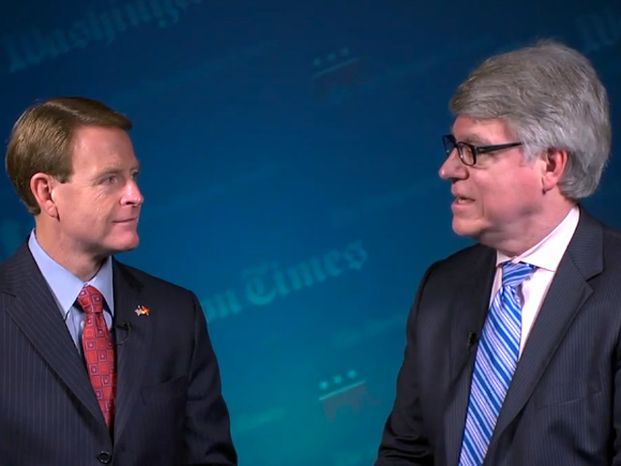 Screenshot: Editor of the Washington Times, Ed Kelley, interviews the Tony Perkins, president of the Family Research Council, at the Republican National Convention.
