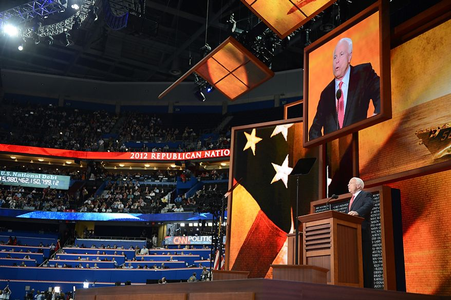 Senator John McCain, Ariz., addresses delegates at the Republican National Convention at the Tampa Bay Times Forum in Tampa, Fla. on Wednesday, August 29, 2012.(Andrew Harnik/ The Washington Times)