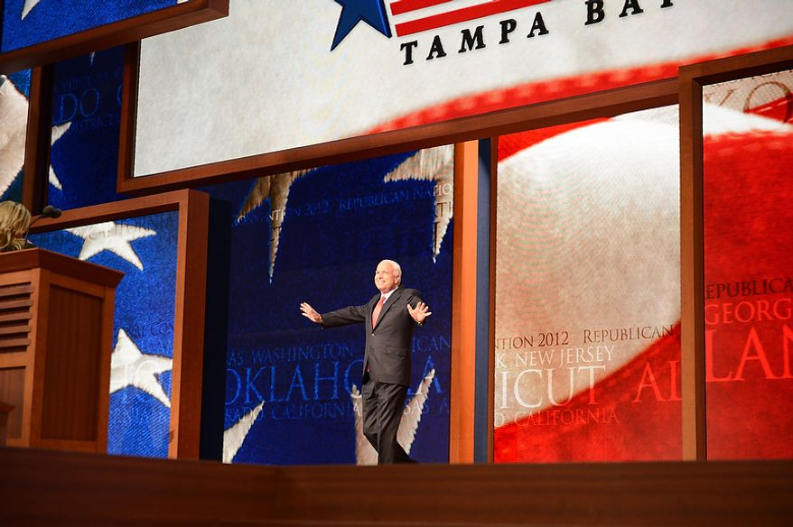 Senator John McCain, Ariz., addresses delegates at the Republican National Convention at the Tampa Bay Times Forum in Tampa, Fla. on Wednesday, August 29, 2012. (Andrew Harnik/ The Washington Times)