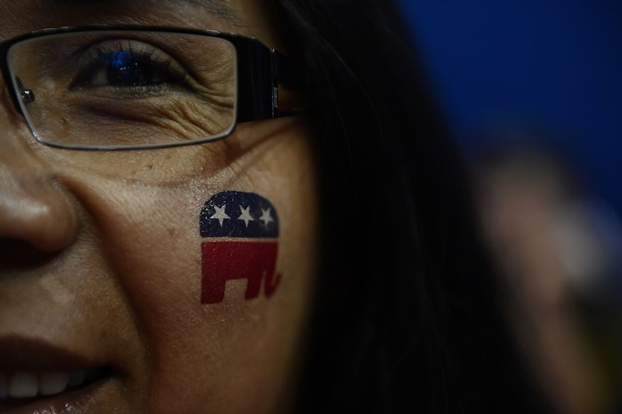 Gabriella Wyatt, of Aurora, Ill., shows off her elephant logo at the Republican National Convention at the Tampa Bay Times Forum in Tampa, Fla. on Wednesday, August 29, 2012. (Andrew Harnik/ The Washington Times)