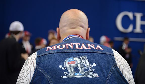 A Montana Republican wears his pride at the Republican National Convention at the Tampa Bay Times Forum in Tampa, Fla. on Wednesday, August 29, 2012. (Andrew Harnik/ The Washington Times)
