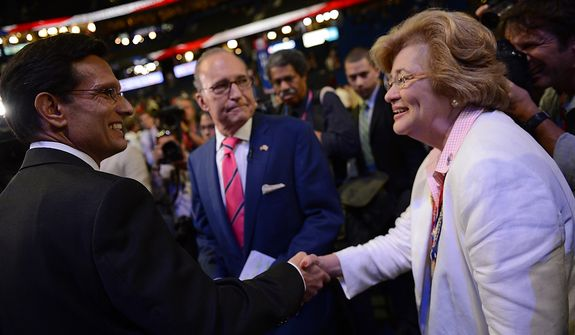 House Majority Leader Eric Cantor, R- Va. 7th, shakes hands with delegates at the Republican National Convention at the Tampa Bay Times Forum in Tampa, Fla. on Wednesday, August 29, 2012. (Andrew Harnik/ The Washington Times)