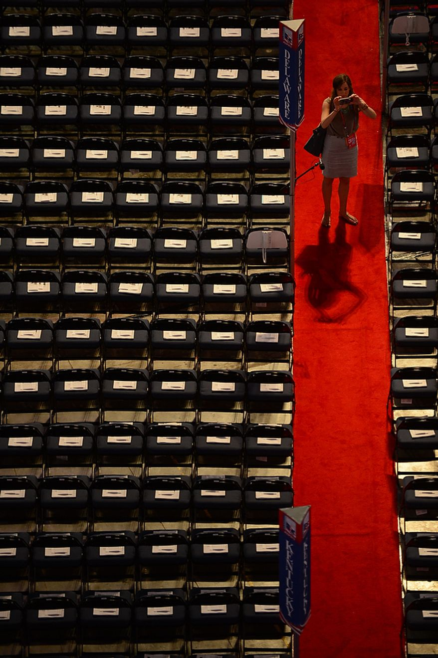at the Republican National Convention at the Tampa Bay Times Forum in Tampa, Fla. on Wednesday, August 29, 2012. (Andrew Harnik/ The Washington Times)