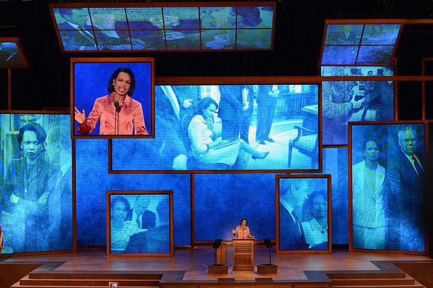 Condoleezza Rice addresses the Republican National Convention at the Tampa Bay Times Forum in Tampa, Fla. on Wednesday, August 29, 2012. (Rod Lamkey, Jr./ The Washington Times)