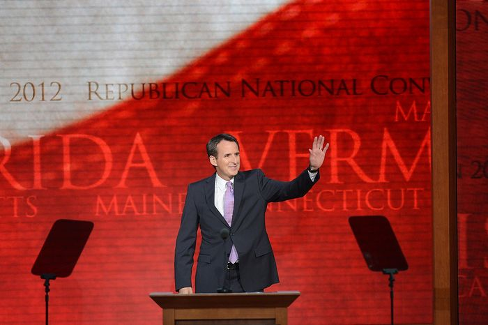 Former Minnesota Gov. Tim Pawlenty addresses the Republican National Convention at the Tampa Bay Times Forum in Tampa, Fla., on Wednesday, Aug. 29, 2012. (Rod Lamkey Jr./The Washington Times)