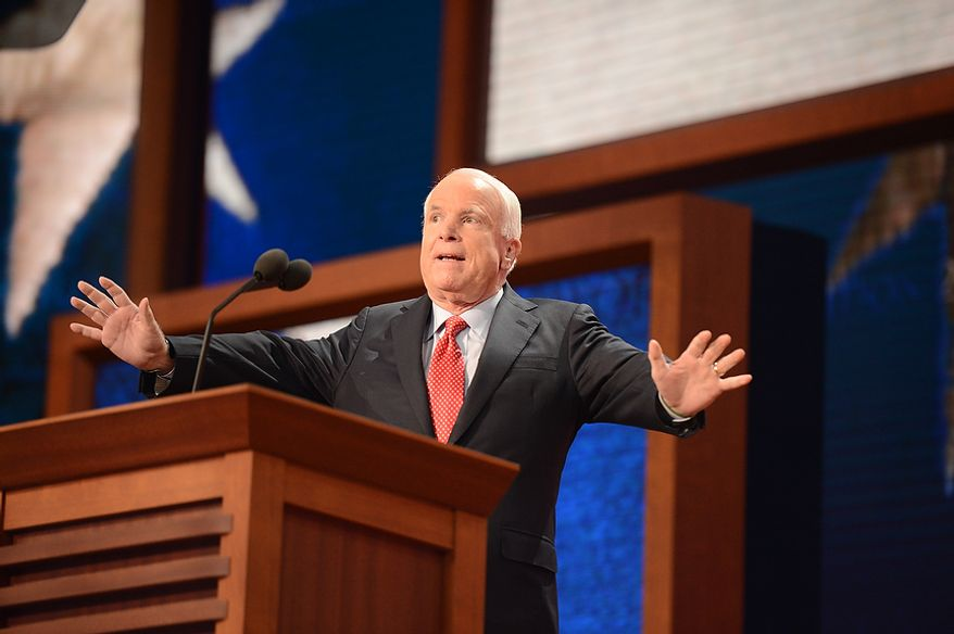 Senator John McCain (AZ) addresses delegates at the Republican National Convention at the Tampa Bay Times Forum in Tampa, Fla. on Wednesday, August 29, 2012. (Andrew Harnik/ The Washington Times)
