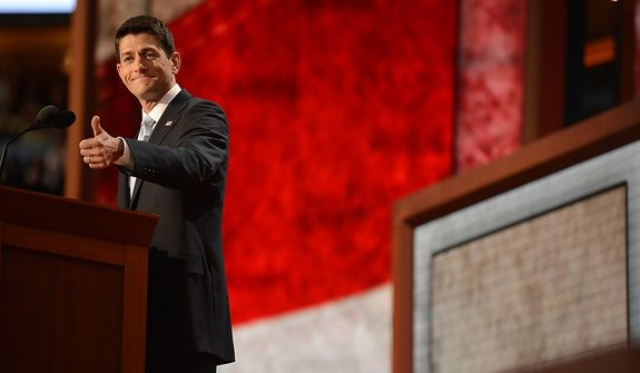 Vice presidential nominee, Rep. Paul Ryan, R-Wis., addresses the Republican National Convention at the Tampa Bay Times Forum in Tampa, Fla., on Wednesday, Aug. 29, 2012. (Andrew Harnik/The Washington Times)