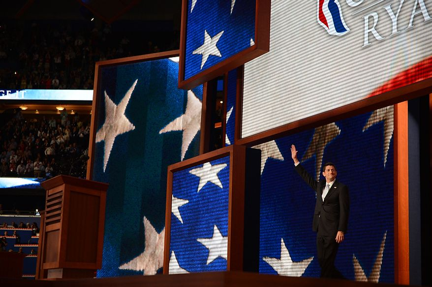 Vice presidential nominee, Rep. Paul Ryan, R-Wisc., addresses the Republican National Convention at the Tampa Bay Times Forum in Tampa, Fla. on Wednesday, August 29, 2012.  (Andrew Harnik/ The Washington Times)