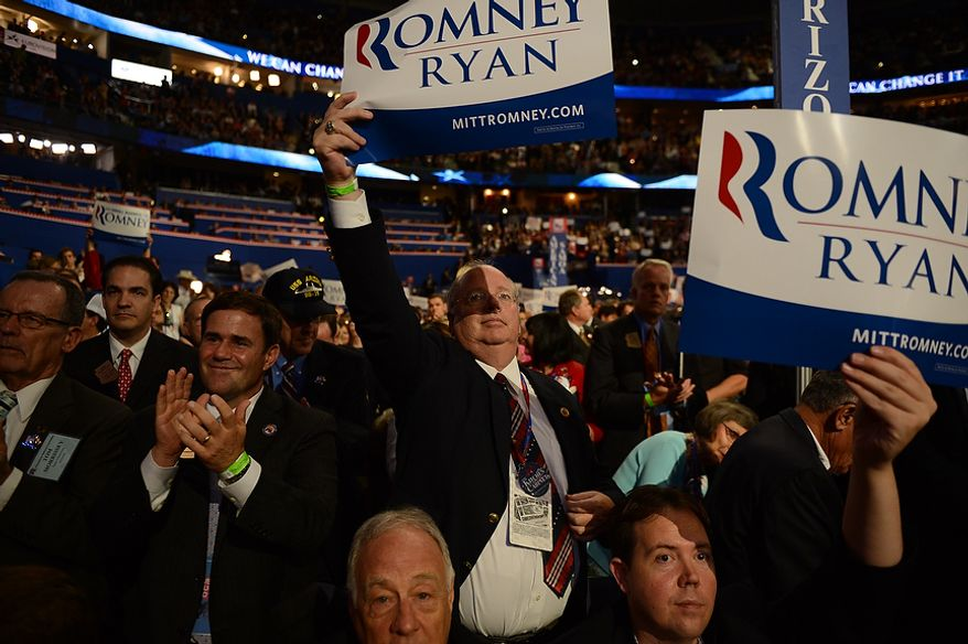 Delegates cheer as vice presidential nominee, Rep. Paul Ryan, R-Wis., addresses the Republican National Convention at the Tampa Bay Times Forum in Tampa, Fla., on Wednesday, Aug. 29, 2012. (Andrew Harnik/The Washington Times)