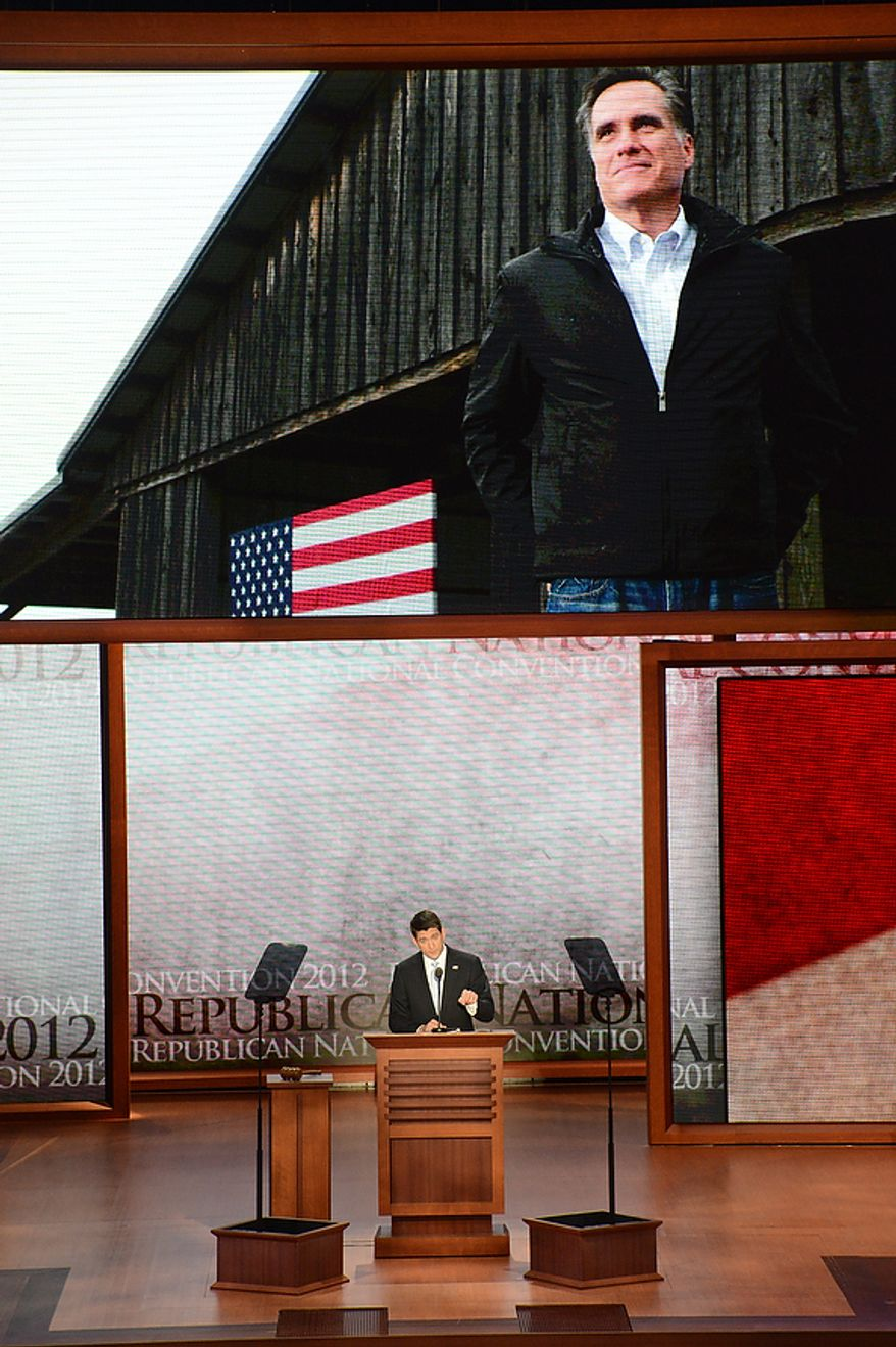 Vice presidential nominee, Rep. Paul Ryan, R-Wis., addresses the Republican National Convention at the Tampa Bay Times Forum in Tampa, Fla., on Wednesday, Aug. 29, 2012. (Rod Lamkey Jr./The Washington Times)