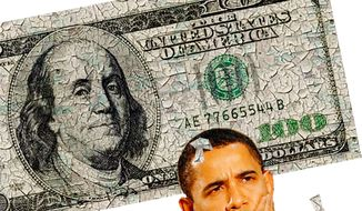 Illustration Obama Money by Alexander Hunter for The Washington Times