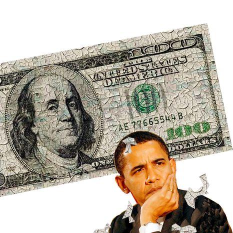 Illustration Obama Money by Alexander Hunter for The Washington Times