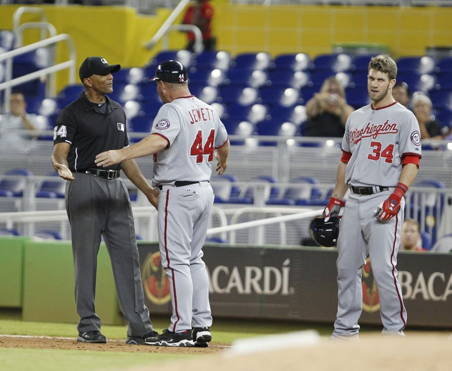 Bryce Harper was ejected for the first time in his career on Wednesday after spiking his helmet following a ground out in the ninth inning. (Associated Press)
