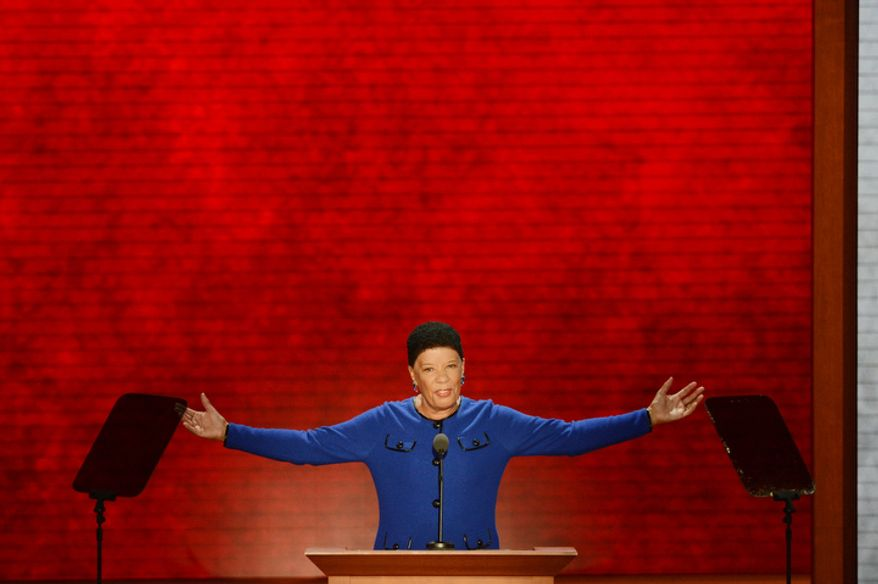 Jane Edmonds, former Massachusetts Secretary of Workforce addresses  the Republican National Convention. (Rod Lamkey, Jr./ The Washington Times)