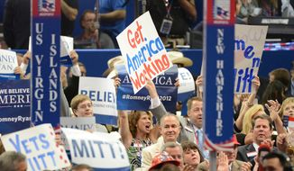 Delegates cheer at the 2012 Republican National Convention at the Tampa Bay Times Forum. (Andrew Harnik/The Washington Times)